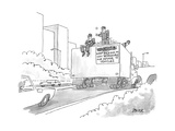 A truck of rubble with a warning on its back for other cars to keep back, ... - New Yorker Cartoon Premium Giclee Print by Jack Ziegler