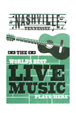 Nashville, Tennessee - Horizontal Guitar - Teal Screenprint Posters by  Lantern Press
