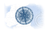 Compass - Blue - Coastal Icon Prints by  Lantern Press