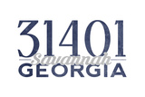 Savannah, Georgia - 31401 Zip Code (Blue) Print by  Lantern Press