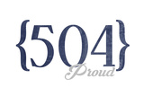 New Orleans, Louisiana - 504 Area Code (Blue) Prints by  Lantern Press