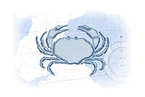 Crab - Blue - Coastal Icon Prints by  Lantern Press