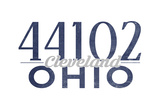 Cleveland, Ohio - 44102 Zip Code (Blue) Art by  Lantern Press
