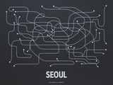 Seoul Screen Print Black Serigraph by  LinePosters