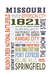 Missouri - Typography Posters by  Lantern Press