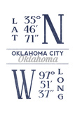 Oklahoma City, Oklahoma - Latitude and Longitude (Blue) Posters by  Lantern Press