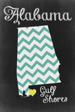 Gulf Shores, Alabama - Chalkboard State Heart Prints by  Lantern Press