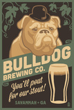 Savannah, Georgia - Bulldog - Retro Stout Beer Ad Poster af  Lantern Press
