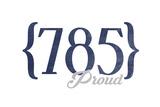 Topeka, Kansas - 785 Area Code (Blue) Posters by  Lantern Press
