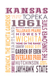Kansas - Typography Posters by  Lantern Press