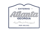 Atlanta, Georgia - Now Entering (Blue) Prints by  Lantern Press