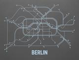 Berlin Screen Print Dark Gray Serigrafi af LinePosters