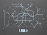 Berlin Screen Print Dark Gray Serigraph by  LinePosters