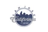 San Jose, California - Skyline Seal (Blue) Art by  Lantern Press