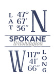 Spokane, Washington - Latitude and Longitude (Blue) Poster by  Lantern Press