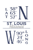 St. Louis, Missouri - Latitude and Longitude (Blue) Print by  Lantern Press