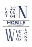 Mobile, Alabama - Latitude and Longitude (Blue) Prints by  Lantern Press