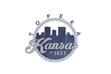 Topeka, Kansas - Skyline Seal (Blue) Print by  Lantern Press