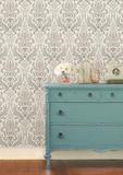 Grey Nouveau Damask Peel & Stick Wallpaper Selvklæbende tapet (aftageligt)