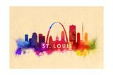 St. Louis, Missouri - Skyline Abstract Art by  Lantern Press