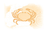 Crab - Yellow - Coastal Icon Prints by  Lantern Press