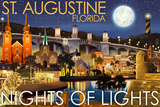 St. Augustine, Florida - Nights of Lights - Night Scene Prints by  Lantern Press