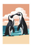 Black-Footed Penguins Kissing Posters by  Lantern Press