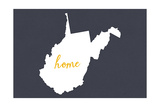 West Virginia - Home State - White on Gray Posters by  Lantern Press