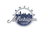Lansing, Michigan - Skyline Seal (Blue) Prints by  Lantern Press