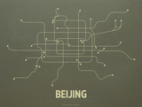 Beijing Screen Print Olive Serigraph by  LinePosters