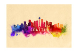 Seattle, Washington - Skyline Abstract Posters by  Lantern Press
