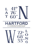 Hartford, Connecticut - Latitude and Longitude (Blue) Art by  Lantern Press