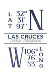Las Cruces, New Mexico - Latitude and Longitude (Blue) Print by  Lantern Press