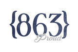 Lakeland, Florida - 863 Area Code (Blue) Posters by  Lantern Press
