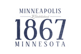 Minneapolis, Minnesota - Established Date (Blue) Prints by  Lantern Press