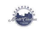 Greensboro, North Carolina - Skyline Seal (Blue) Prints by  Lantern Press