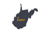 West Virginia - Home State - Gray on White Prints by  Lantern Press