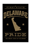 Delaware State Pride - the First State - Gold on Black Poster by  Lantern Press