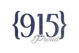 Odessa, Texas - 915 Area Code (Blue) Art by  Lantern Press