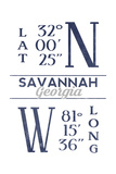Savannah, Georgia - Latitude and Longitude (Blue) Poster by  Lantern Press