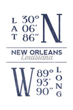 New Orleans, Louisiana - Latitude and Longitude (Blue) Poster by  Lantern Press