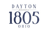 Dayton, Ohio - Established Date (Blue) Poster by  Lantern Press