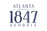 Atlanta, Georgia - Established Date (Blue) Art by  Lantern Press