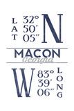 Macon, Georgia - Latitude and Longitude (Blue) Prints by  Lantern Press