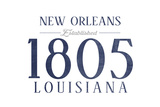 New Orleans, Louisiana - Established Date (Blue) Print by  Lantern Press