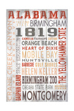 Alabama - Barnwood Typography Prints by  Lantern Press