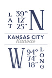 Kansas City, Kansas - Latitude and Longitude (Blue) Print by  Lantern Press