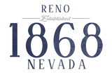 Reno, Nevada - Established Date (Blue) Posters by  Lantern Press