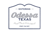 Odessa, Texas - Now Entering (Blue) Prints by  Lantern Press