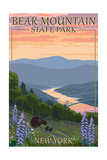 Bear Mountain State Park, New York - Bears and Spring Flowers Posters by  Lantern Press